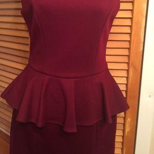 Aqua Wine Peplum Dress
